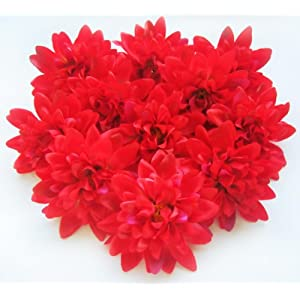 "(12) Red Silk Dahlia Flower Heads - 4"" - Artificial Flowers Dahlias Head Fabric Floral Supplies Wholesale Lot for Wedding Flowers Accessories Make Bridal Hair Clips Headbands Dress 60"
