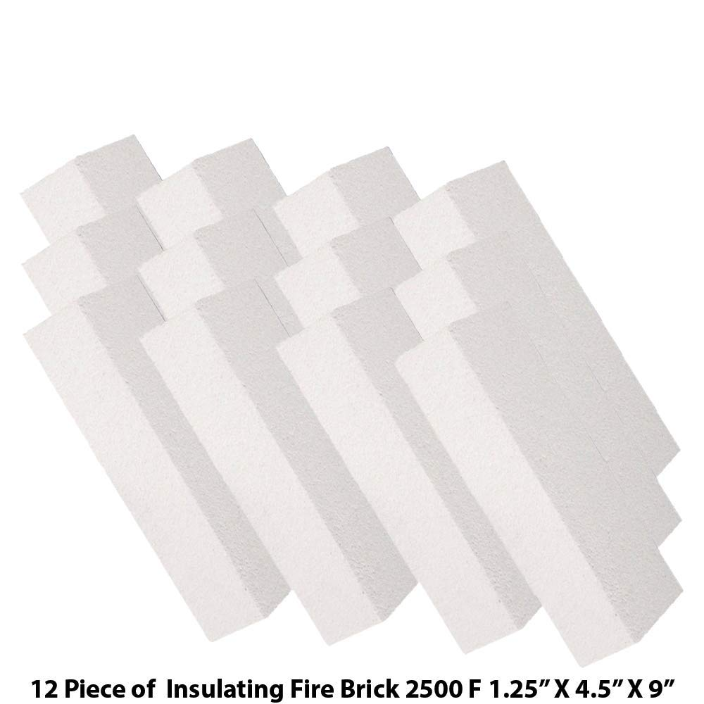 HFK-25 Insulating FireBrick 2500F 1.25'' x 4.5'' x 9'' IFB Box of 12 Fire Bricks for Fireplaces, Pizza Ovens, Kilns, Forges by Unknown