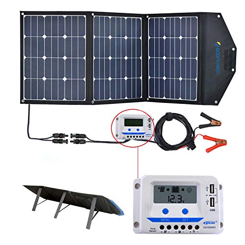 ACOPOWER 120W Portable Solar Panel, 12V Foldable Solar Charger with 10A Charge Controller in Suitcase