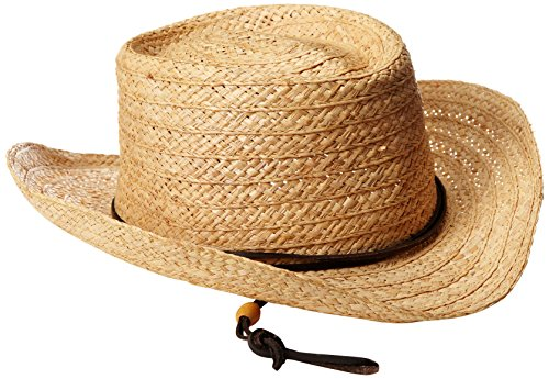 (San Diego Hat Co. Men's Straw Gambler Hat with Leather Chin Cord, Natural, One Size)