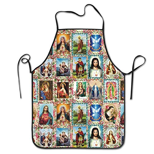 Female Catholic Saints Costumes (ONUPMIN Polyester Liquid Drop Waterdrop Resistant Cooking Kitchen Restaurant Bar Apron Catholic Saints Images Aprons Chef Apron Unisex Aprons for Women)
