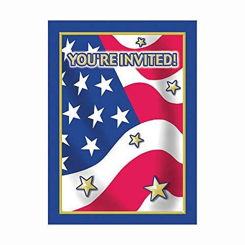 Stars and Stripes Patriotic Invitations, 8ct