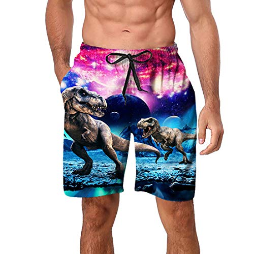 Enlifety Mens Fun Swimsuit Elastic Waistable Adult Swimming Shorts Big Man Swim Trunks Fast Dry Lightweight Beachwear for Holiday with Side Pockets L]()