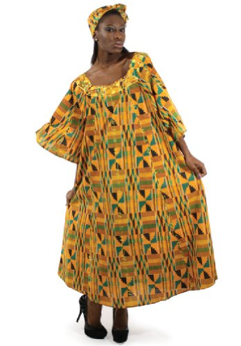 African Inspired Dresses (Kente Cloth Pattern Umbrella Dress with Head Wrap - One Size Fits Most, Style 2)