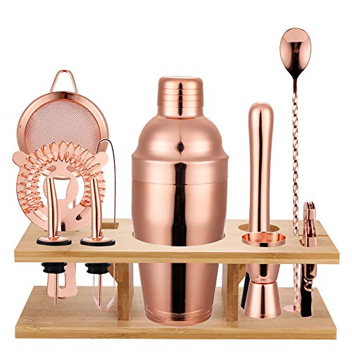 - ZZKOKO Bartender Kit Cocktail Shaker Set 11-Piece Home Bar Tools Set: Stainless Steel Bartending Kit With Sleek Bamboo Stand, Rose Gold Shaker With Muddler, Pourers, Strainer & Twisted Bar Spoon