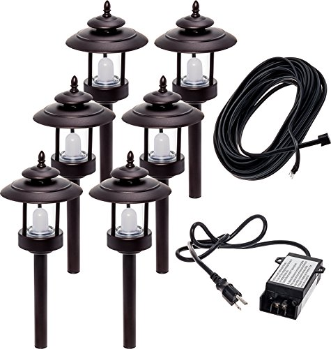 6 Pack Westinghouse 100 Lumen Low Voltage LED Pathway Light Landscape Kit w/Transformer & Cable -