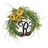 FAVOWREATH 2018Vitality Series FAVO-W108 Handmade 14 inch Green Grass,R Letter,Sunflowers Grapevine Wreath for Fall Festival Front Door/Wall/Fireplace Every Day Nearly Natural Home Hanger Decor