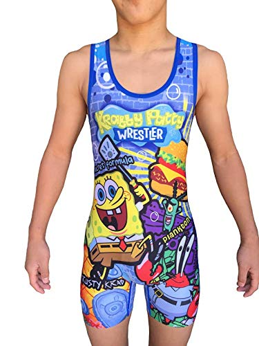 TRI-TITANS Krabby Patty Wrestling Singlet- Folkstyle Boys and Mens (Youth L: - Sublimated Custom Wrestling Singlet
