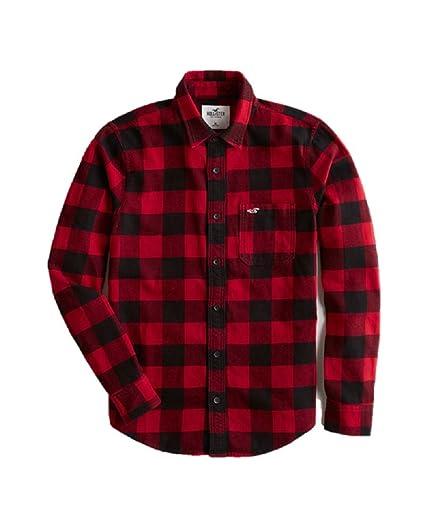 06378ae33d1 Hollister New Flannel Check Shirt RED Black Shirt Men Collar Slim FIT Size   Medium M  Amazon.co.uk  Clothing