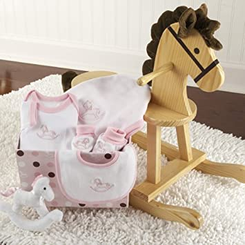 Amazon rockabye baby personalized rocking horse with plush quotrockabye babyquot personalized rocking horse with plush toy and layette gift negle Gallery
