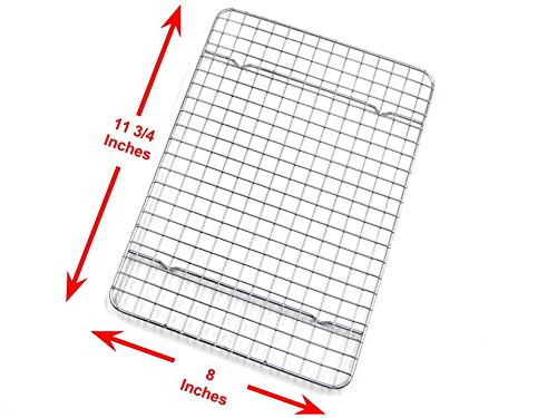 Checkered Chef Cooling Racks For Baking - Quarter Size - Stainless Steel Cooling Rack/Baking Rack Set of 2 - Oven Safe Wire Racks Fit Quarter Sheet Pan - Small Grid Perfect To Cool and Bake by Checkered Chef (Image #4)