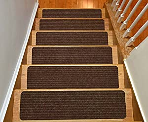 Stair Treads Collection Set of 13 Indoor Skid Slip Resistant Brown Carpet Stair Tread Treads (8 inch x 30 inch) (Brown Set of 13) & Stair Treads Collection Set of 13 Indoor Skid Slip Resistant Brown ... Pezcame.Com