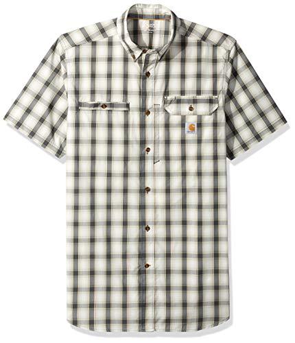 Carhartt Men's Big and Tall Big & Tall Force Ridgefield Plaid Short Sleeve Shirt, 029-Shadow, 4X-Large