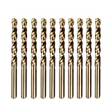 Migiwata 9/64 Inch Fractional Size M35 Cobalt Steel Extremely Heat Resistant Jobber Length Twist Drill Bit Set of 10pcs with Straight Shank for Repeated Drilling Projects in Stainless Steel and Iron