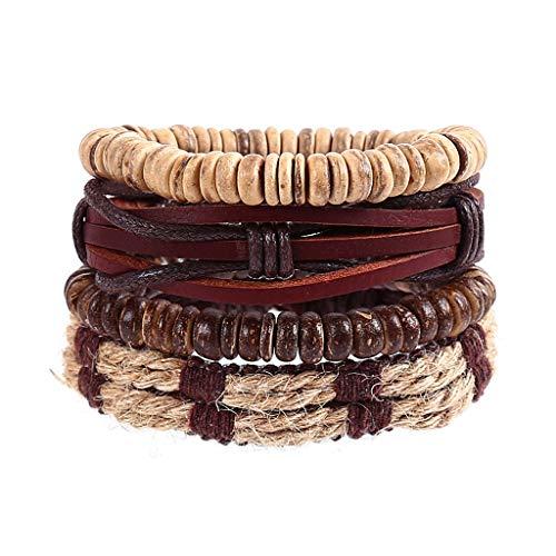 Sinfu 4PC Men Women Woven Hemp Rope Adjustable Bracelets Vintage Hand-Woven Multi-Layer Leather Beads Bracelet Gift Jewelry (D)