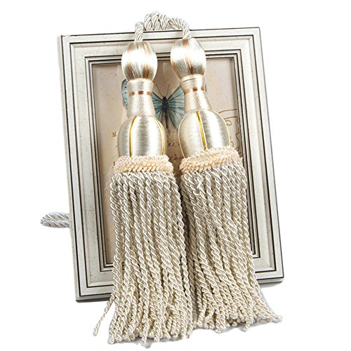 LianLe 2PCS Curtain Tieback Tassel Binding Rope Curtain Holdbacks Buckle European Style ,Beige - Buckle Silk