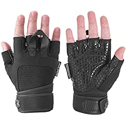 Seibertron PRO 2.0 Padded Anti-Slip Silica Gel Grip Gloves for Gym Workout, Weight Lifting, Training, Fitness, Cross Training, Bodybuilding, Pull Ups, WODs and Exercise Men & Women(PAIR) L