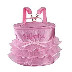 KingBig Dance Bag,Girl's Ballet Duffel Bags Backpack with Pink Lace for Dancers
