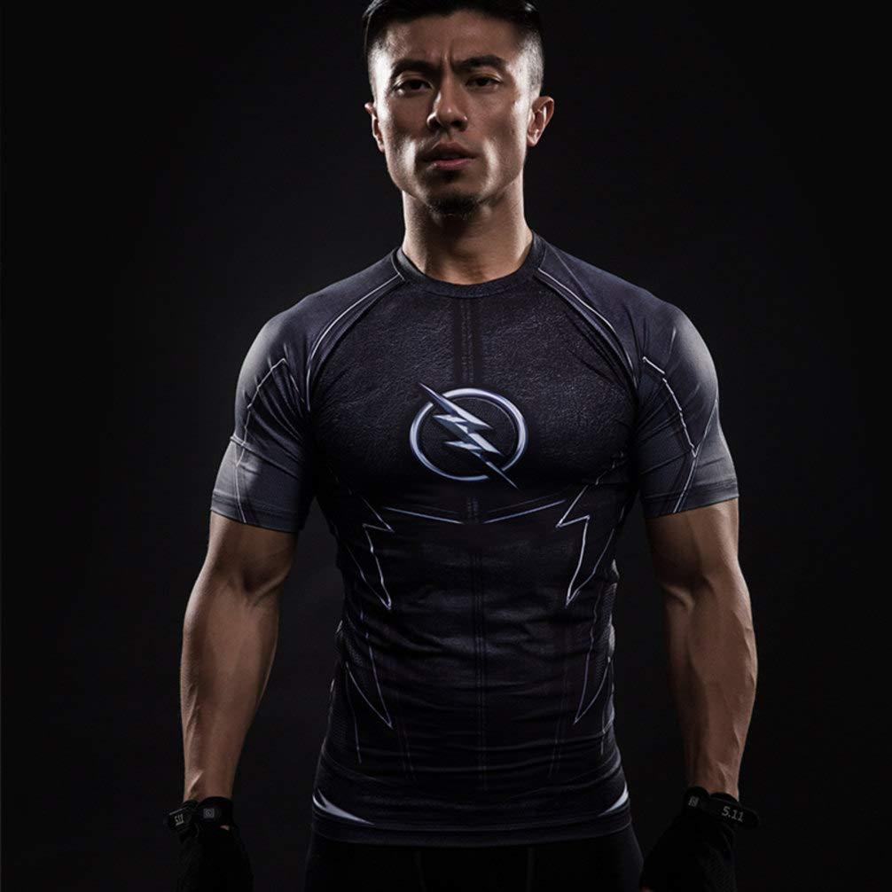 PKAWAY Fashion Black Flash Compression Cool Dry Workouts Shirt Short Sleeve