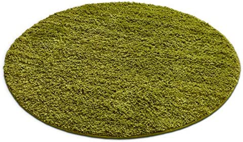Well Woven Madison Modern Solid Plain Green Shag Thick Area Rug 3'11″ Round