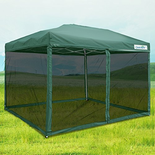 Quictent Ez Tan Pop up Canopy Gazebo Mesh Side Wall Screen House With Carry BAG (Green, 10 Feet x 10 Feet) (Open Gazebo)
