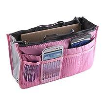 Zenmil® Handy Fashion Woman Travel Makeup Insert Handbag Organiser Purse Large Liner Organizer Bag Travel Pouch / Bag in Bag / Insert Organizer / Cosmetic Pocket / Makeup Bag / Tidy Bag (Pink)