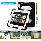 "ACEGUARDER Shockproof Case for Kindle Fire HDX 7"" Rainproof Shockproof Kids Proof Case for Kindle Fire HDX 7""(only Fit Kindle Fire HDX 7 2013) (Gifts Outdoor Carabiner + Whistle + Handwritten Touch Pen) (BLACK/WHITE)"