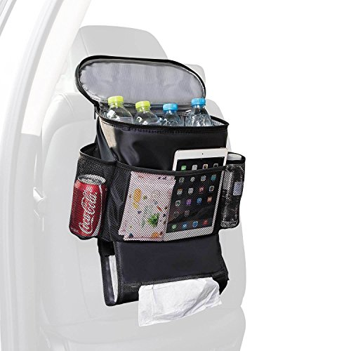 Autoark Car Seat Back Organizer and Cooler Set,Multi-Pocket Travel Storage Bag(Heat-Preservation and Waterproof),Non-toxic and BPA-free,Bigger-Capacity,AK-054