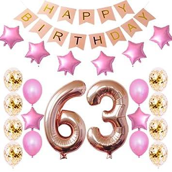 Amazon.com: 63 cumpleaños decoraciones fiesta suministros ...