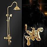 Shower Bath Rooms Wall- European Golden Gold Lift Adopt a Shower Shower Bath Rooms Fitting Rainy Shower Head