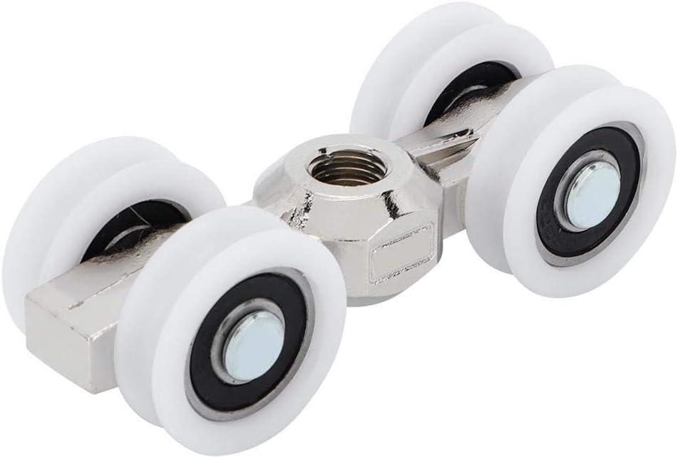 Rodillo de 4 ruedas para puerta corrediza - Herraje para puerta corrediza / colgador de puerta de bolsillo Cojinete de bolas - Rueda de 0.8 pulgadas, fuerte capacidad de carga Ultra silencioso