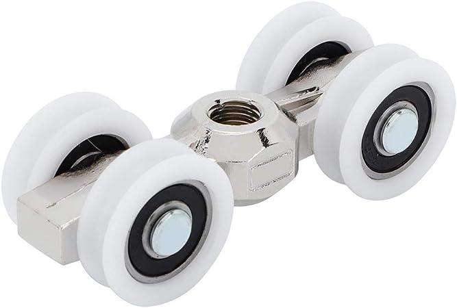 Rodillo de 4 ruedas para puerta corrediza - Herraje para puerta corrediza / colgador de puerta de bolsillo Cojinete de bolas - Rueda de 0.8 pulgadas, fuerte capacidad de carga Ultra silencioso: Amazon.es: Hogar