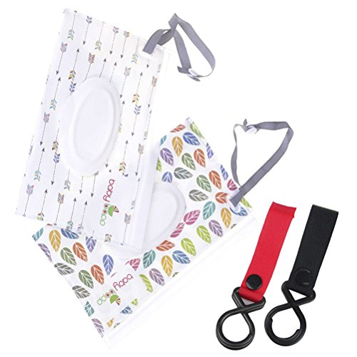 2Pcs Wet Wipe Pouch + 2Pcs Baby Carriage Hook, Cartoon Pattern Travel Wipes Dispenser Holder Reusable Refillable Wet Wipe Bag Portable Baby Wet Wipes Portable Cases (Best Travel Wipes Case)
