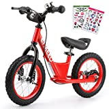 Enkeeo Balance Bike No Pedal with Adjustable Upholstered Seat, Soft Handlebars, Enhanced Tyres, Wide Footrests, DIY Stickers, Bell, Hand Brake, Carbon Steel Frame and Stand, Safe and Comfortable for Kids Toddlers ,14 inch, Red