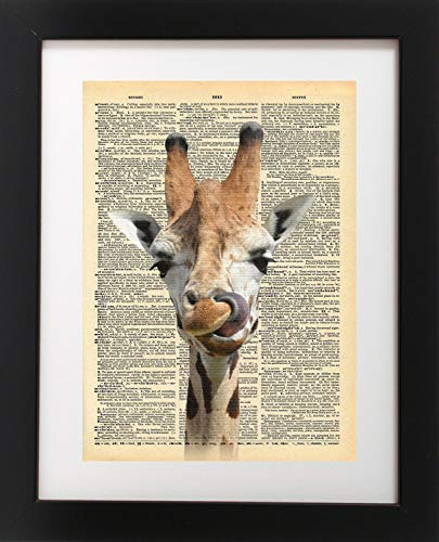 Big Happy Giraffe Vintage Dictionary Print 8x10 inch Home Vintage Art Abstract Prints Wall Art for Home Decor Wall Decorations For Living Room Bedroom Office Ready-to-Frame