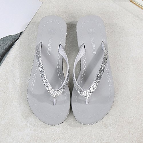 Women Black 36 Summer Flops Sandals Slip Slippers Flip Non with Wedge Silver Sole Slope Rubber U7Cqwpd