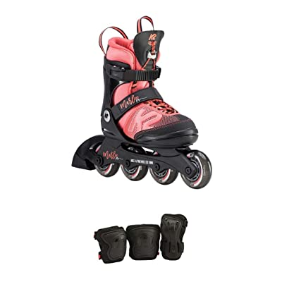 K2 Skate Youth Marlee Pro Pack Inline Skates, Black/Coral, 11-2 : Sports & Outdoors
