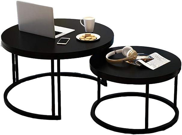Table XIA Juego de 2 mesas Laterales Redondas, Mesa de Centro con Patas de Metal, Mesa Lateral multifunción, Mesa de Comedor, balcón, 7 Colores (Color : E): Amazon.es: Hogar