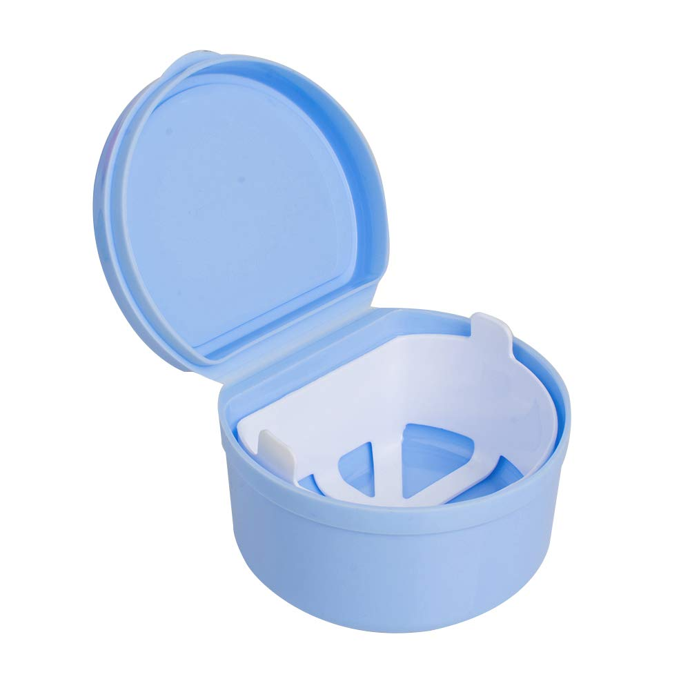 Genmine Denture Bath Box Case with Strainer Dental Orthodontic Retainer False Teeth Storage Case Box with Lid Mouth Guard Soaking Container Drain Tray Night Gum Shield Travel Storage Case Holder