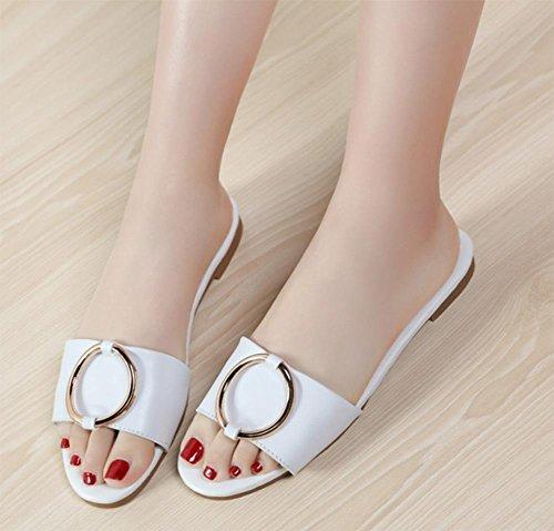 Frau Oberbekleidung Hausschuhe, Sandalen und Pantoffeln flache Sandalen und Pantoffeln weiblichen Sommer im Freien Pantoffeln weiblich White