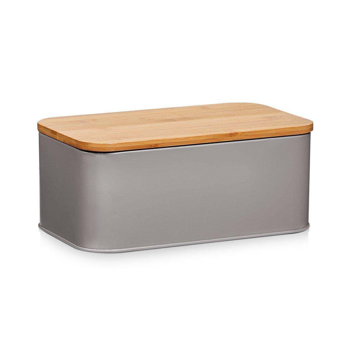 Zeller Cestino porta-pane in metallo con coperchio in bambù , 42,5 x 23 x 13 cm, bianco opaco 25375