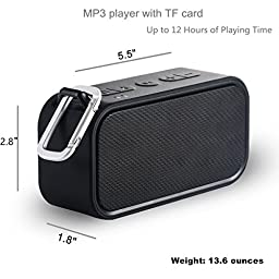 iCode Sports Portable Bluetooth Speaker with 360° Surrounding Sounds, 12 Hour Play Rechargeable Battery ,Water Resistant IPX5 Perfect for Outdoor, Beach, Shower & Home (Black)