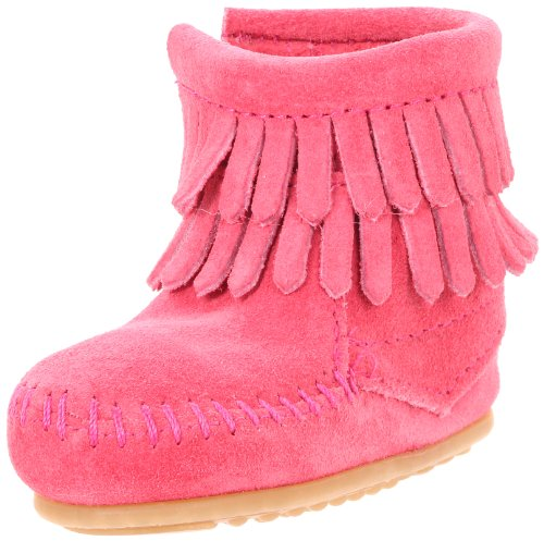 Minnetonka Double Fringe Side Zip Boot (Toddler/Little Kid/Big Kid),Pink,1 M US Little Kid