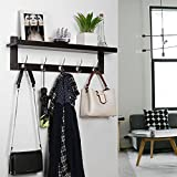 Homfa Bamboo Entryway Wall Shelf Hanging Shelf Coat Hook Rack Wall-Mounted with 5 Dual Metal Hooks for Hallway, Bathroom, Living Room, Bedroom, Dark Brown