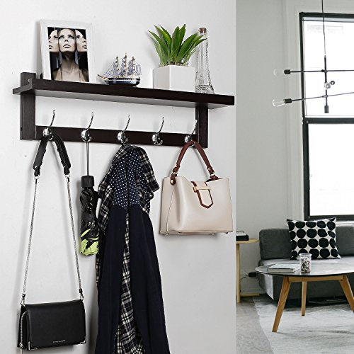 HOMFA Bamboo Coat Hook Shelf Wall-Mounted Hanging Shelf Entryway Wall Shelf with 5 Dual Wall Hanger Hooks Retro Color