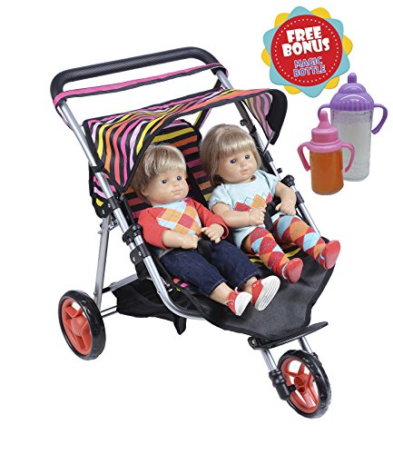 Bitty Girl Baby Little (Exquisite Buggy, Twin Jogger DOLL Stroller with Diaper Bag With 2 FREE Magic Bottles Included Fits Bitty Twins)