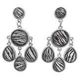 Trendy Animal Print Pattern Dangle Earrings (Zebra Stripe)