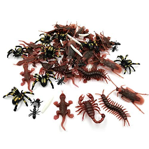 Mazaashop Plastic Realistic Bugs Fake Cockroaches Spiders Scorpions Centipede Gecko Fly Worms for Halloween Party Favors Decoration
