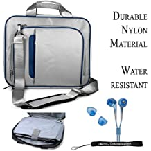 Blue Silver Travel Smart Carrying Case with Optional Adjustable Shoulder Strap // Airport Check-Point-Friendly // For Gateway NO20 Notebook 12.1 inch Screen + Includes a Crystal Clear HD Noise Filter Ear buds Earphones Headphones ( 3.5mm Jack )