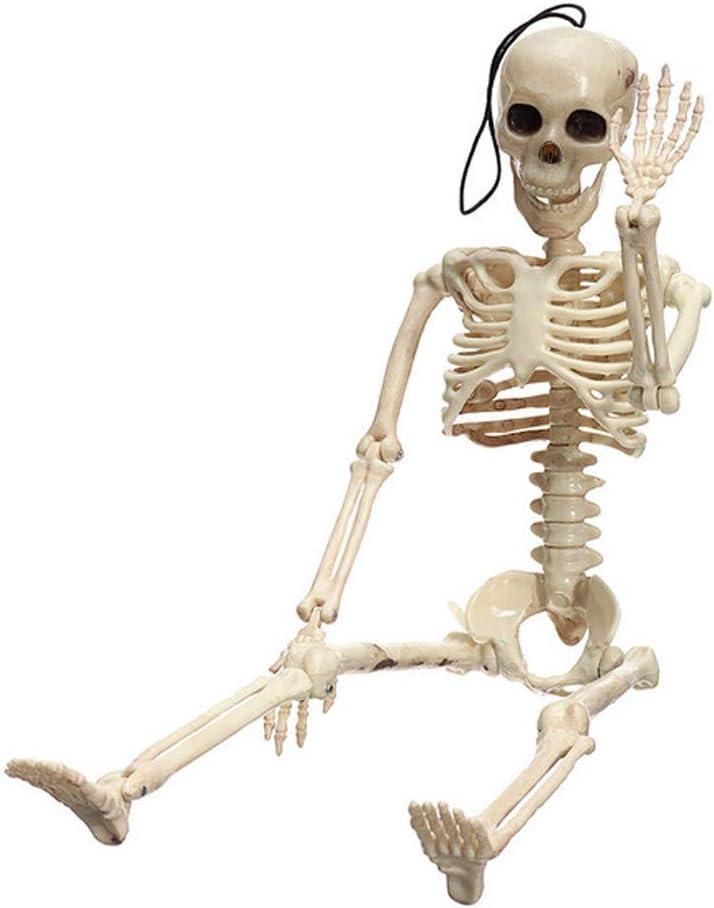Wei/ß Routinfly Halloween-Skelett Party lustiges Spielzeug,Gruselige menschliche Sch/ädel Figur be/ängstigend Halloween Prop Party Spielzeug